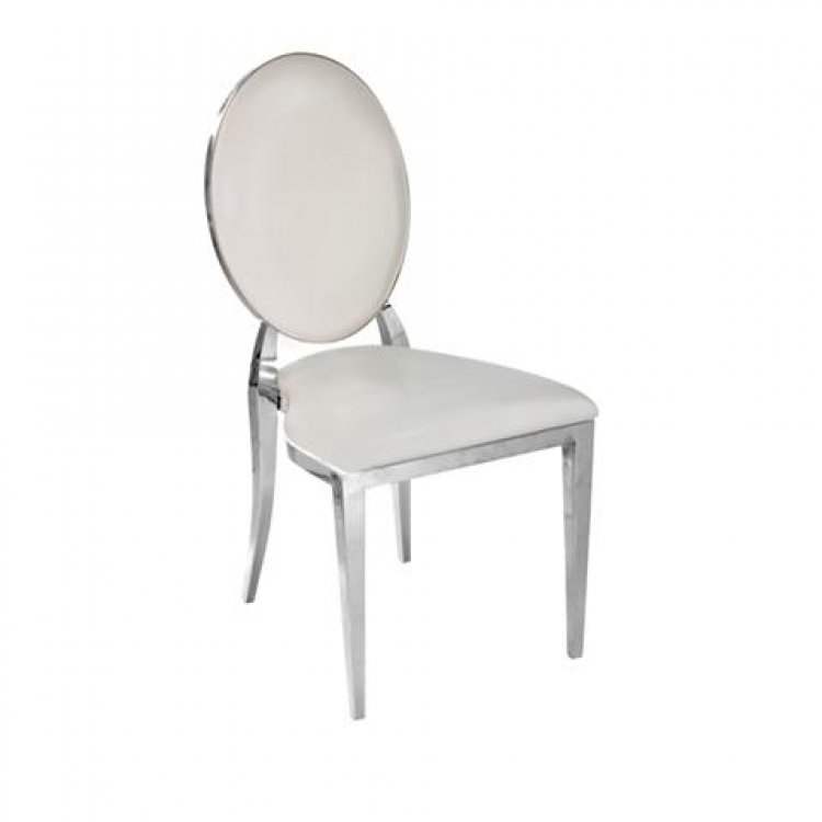 Dining Chair - Garbo - White with Polished Silver Frame