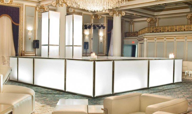 Bar - 4ft Straight - White Front/Sides, Gold Frame