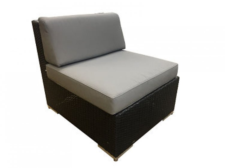 Outdoor Furniture - Middle - Black Wicker with Gray Cushion