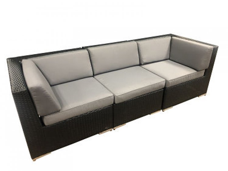 Outdoor Furniture - Sofa - Black Wicker with Gray Cushion