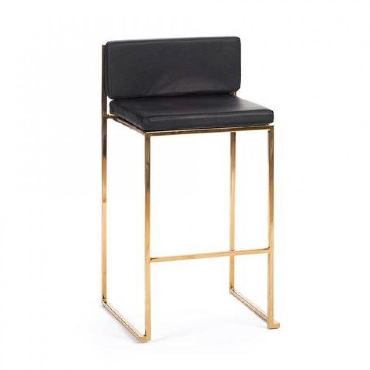 Bar Stool - Black Cushion - Paramount Gold Frame