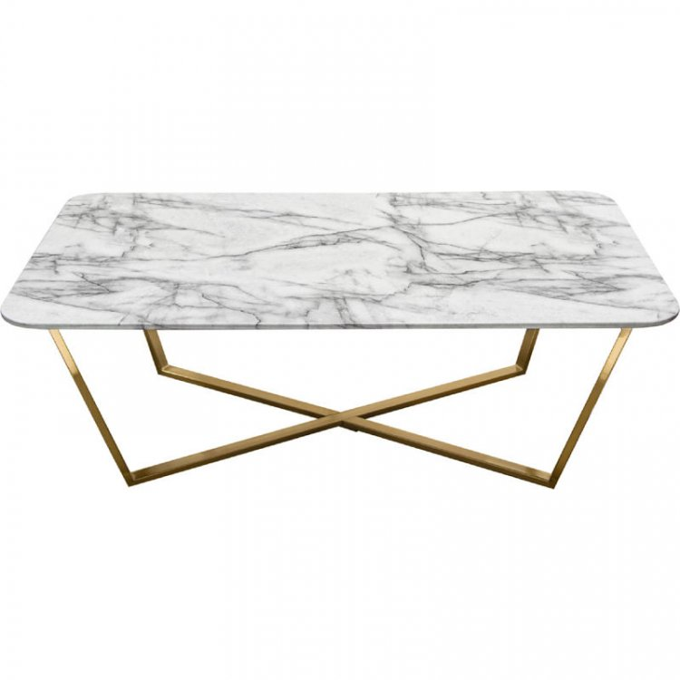Coffee Table - Blanco - Brushed Gold