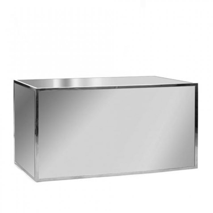 Bar - 6ft Straight- White top / Mirror Front/Stainless Frame