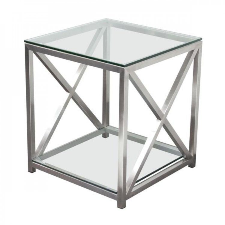 Side Table - X Factor - Brushed Silver